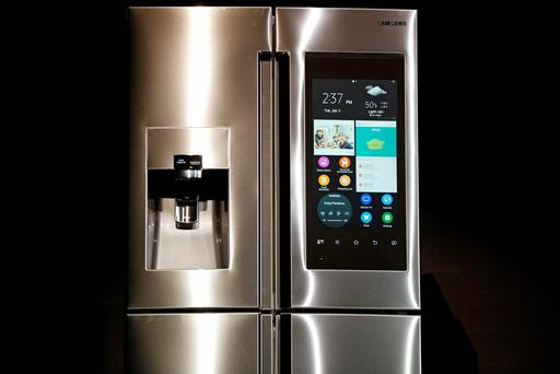 The Family Hub Refrigerator is on display during a Samsung news conference at CES Press Day at CES International, Tuesday, Jan. 5, 2016, in Las Vegas. (AP Photo/John Locher)