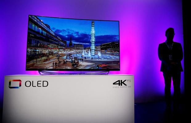 The Panasonic OLED 4K Pro Studio Master UHD television is on display during a Panasonic news conference at CES Press Day at CES International, Tuesday, Jan. 5, 2016, in Las Vegas. (AP Photo/John Locher)