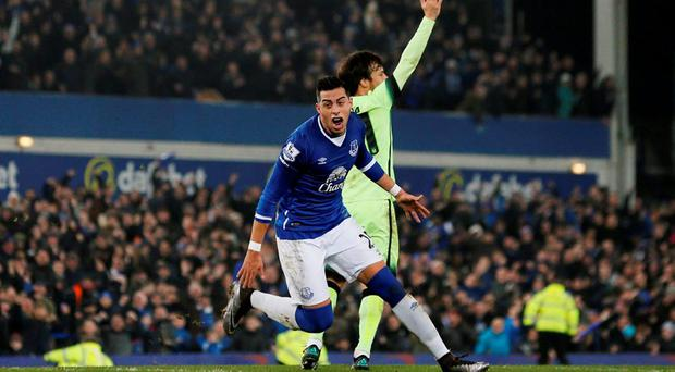 Ramiro Funes Mori celebrates after scoring the first goal for Everton Action Images via Reuters / Jason Cairnduff