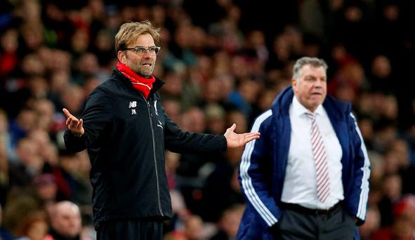 Liverpool manager Juergen Klopp and Sunderland manager Sam Allardyce Reuters / Andrew Yates
