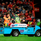 Keith Earls being removed from the pitch on a stretcher after being injured during last month's match against Leinster at Thomond Park Photo:Sportsfile