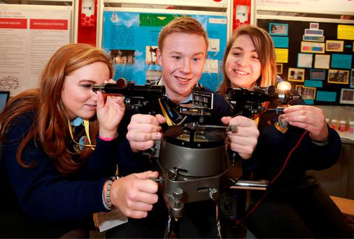 Aisling Nolan, DJ Cahill and Wiktoria Biedron (all 17) have developed an innovative way of detecting drugs added to liquids. Picture Credit: Frank Mc Grath