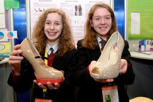 Ella Rose McIntyre and Roisin Cellarius from Colasite Bhaile Chlair Galway at the BT young Scientist exhibition at the RDS Dublin. Photo: Justin Farrelly.