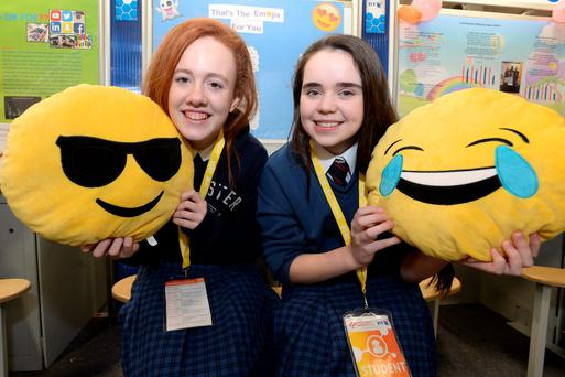 Ciara Brouder and Victoria Brouder from Desmond College Limerick at the BT young Scientist exhibition at the RDS Dublin. Photo: Justin Farrelly