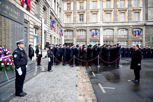 French President Francois Hollande visits the HQ of the French anti-terror security forces. Photo: AFP/Getty Images