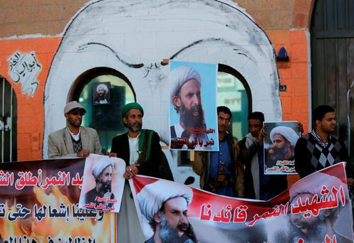 Supporters of the Houthi movement protest against the execution of Shi'ite Muslim cleric Nimr al-Nimr in Saudi Arabia, during a demonstration outside the Saudi embassy in Sanaa, Yemen. Photo: Reuters