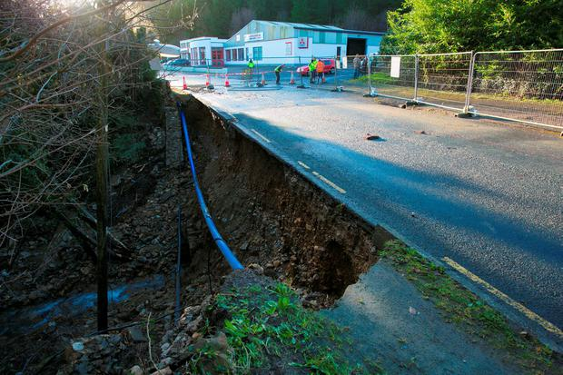 A path and wall collapsed after overnight rain in Avoca, Co Wicklow (Photo: Michael Kelly)