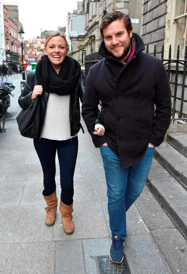 Peter Coonan & fiance Kim O'Driscoll spotted walking on South William Street, Dublin