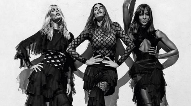 Claudia Schiffer, Cindy Crawford and Naomi Campbell for Balmain. Picture: Instagram
