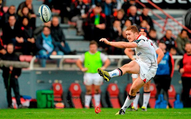 Paddy Jackson, Ulster, kicks a conversion. European Rugby Champions Cup, Pool 1, Round 4, Toulouse v Ulster. Stade Ernest Wallon, Toulouse, France. Picture credit: Oliver McVeigh / SPORTSFILE