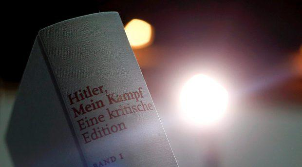 A copy of the book 'Hitler, Mein Kampf. A Critical Edition' is displayed for media prior to a news conference in Munich, Germany January 8, 2016