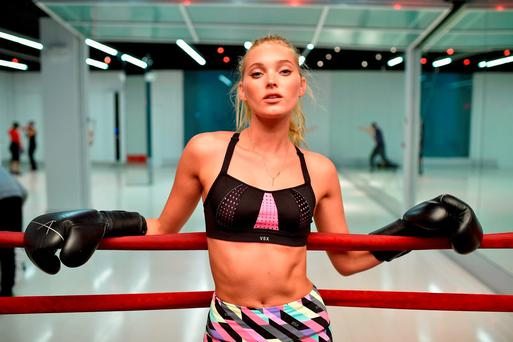 Victoria's Secret model Elsa Hosk boxes it out wearing Victoria Secret Sport at Aerospace High Performance Center on January 7, 2016 in New York City. (Photo by Dimitrios Kambouris/Getty Images for Victoria's Secret)