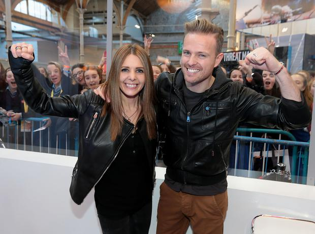 2fm presenters Jenny Greene and Nicky Byrne as they presented their show on the RTÉ set at The BT Young Scientist & Technology Exhibition 2016 at The Rds Dublin. Picture Brian McAvoy.