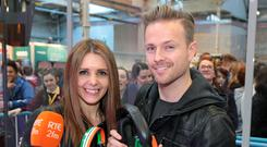 Jenny Greene and Nicky Byrne get ready to broadcast live from the BT Young Scientist and Technology Exhibition at the RDS. Pictures Brian McEvoy