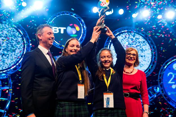 Minister Jan O'Sullivan and Shay Walsh, MD, BT Ireland with the winners of the 52nd BT Young Scientist & Technology Exhibition (#BTYSTE) have been announced. Maria Louise Fufezan (aged 16) and Diana Bura (left) (aged 15)