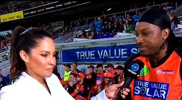 Reporter Mel McLaughlin's controversial pitchside interview with West Indian cricketer Chris Gayle