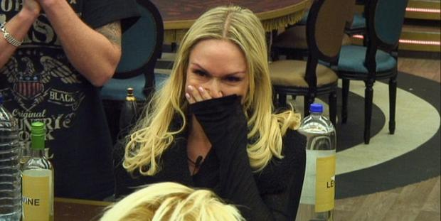 Kristina Rihanoff announces her pregnancy on Celebrity Big Brother. Picture: Channel 5