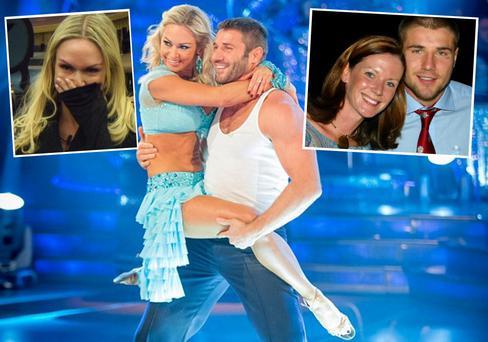 Ben Cohen and Kristina Rihanoff in Strictly Come Dancing (centre) and (left) Kristina tells her Celebrity Big Brother housemates she's pregnant, (right) Ben Cohen with ex-wife Abby