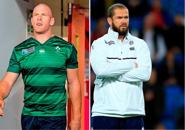Paul O'Connell and (right) Andy Farrell