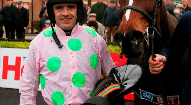 Min and jockey Ruby Walsh in the parade ring after winning The Sky Bet Moscow Flyer Novice Hurdle at Punchestown