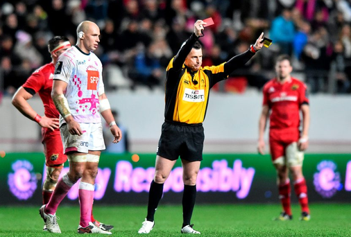 Referee Nigel Owens shows a straight red card to Josaia Raisuqe, Stade Français, not pictured. Picture credit: Ramsey Cardy / SPORTSFILE