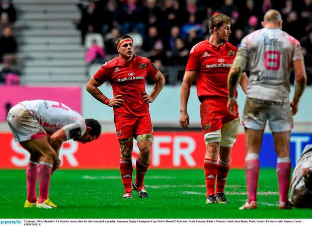 Munster's CJ Stander reacts during the defeat to Stade Francais