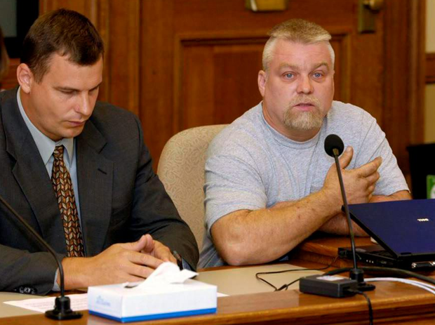 Compelling viewing: Stephen Avery today (right) with one of his legal team