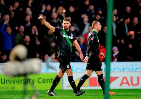 Stoke City's Jonathan Walters celebrates after scoring his side's second goal. Photo credit: Anna Gowthorpe/PA Wire