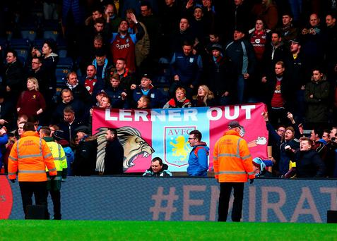 Aston Villa fans make their feelings clear at yesterday's FA Cup matchthe. Photo: Clive Mason/Getty Images