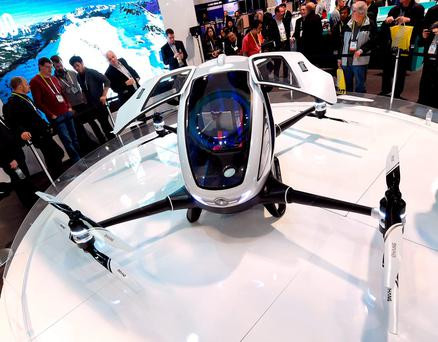 The EHang 184 autonomous-flight drone can carry one passenger — who does not need to pilot the drone. Once a destination is entered, only a take off or land button needs to be pushed to travel. The drone takes off and lands vertically eliminating the need for a runway. It can travel about 20 miles Photo:Getty