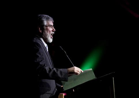 07/01/16Sinn Féin leader Gerry Adams at the 1916 Centenary Commemorative at the Mansion House,Dublin this evening.Pic Stephen Collins/Collins Photos