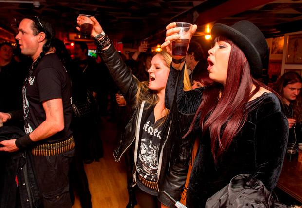 Motorhead fans at a memorial event at the Wig and Gown in north London for Motorhead frontman Ian
