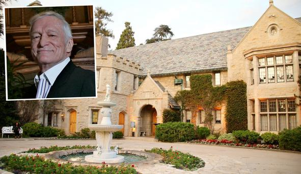 The Playboy Mansion and inset is Hugh Hefner