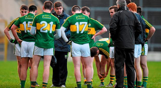 Kerry manager Eamonn Fitzmaurice speaks to his players after the game. McGrath Cup, Group A, Round 2, Kerry v Clare, Fitzgerald Stadium, Killarney, Co. Kerry. Picture credit: Brendan Moran / SPORTSFILE