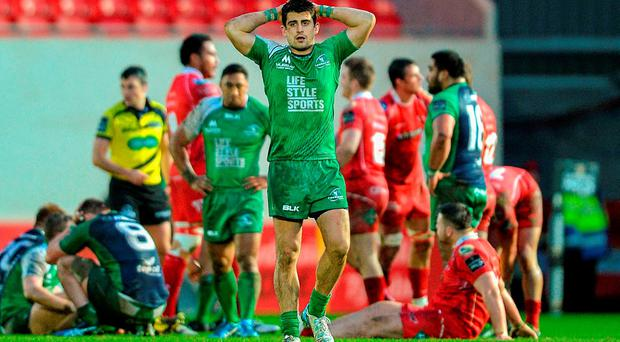 Tiernan O'Halloran, Connacht, after the whistle. Guinness PRO12, Round 12, Scarlets v Connacht, Parc Y Scarlets, Llanelli, Wales. Picture credit: Chris Fairweather / SPORTSFILE