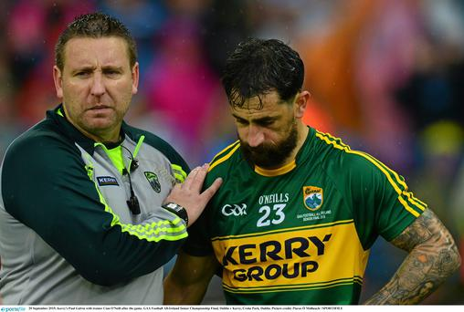 Kerry's Paul Galvin with trainer Cian O'Neill after last year's All Ireland defeat to Dublin