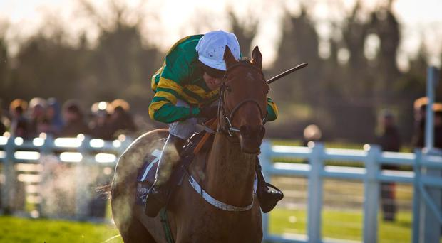 Barry Geraghty drives Nearly Nama'd to victory at Fairyhouse yesterday. Photo: Patrick McCann