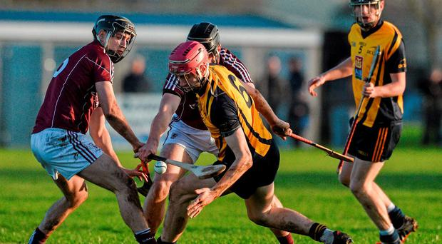 DCU's Paudie Foley in action against Galway's Richie Cummins and Aidan Harte at Duggan Park. Photo: David Maher / Sportsfile.