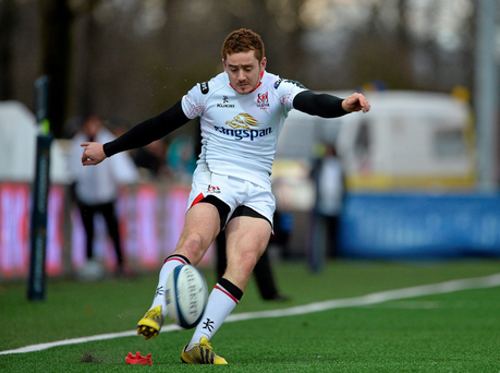 Paddy Jackson kicking a conversion. Picture credit: Oliver McVeigh / Sportsfile