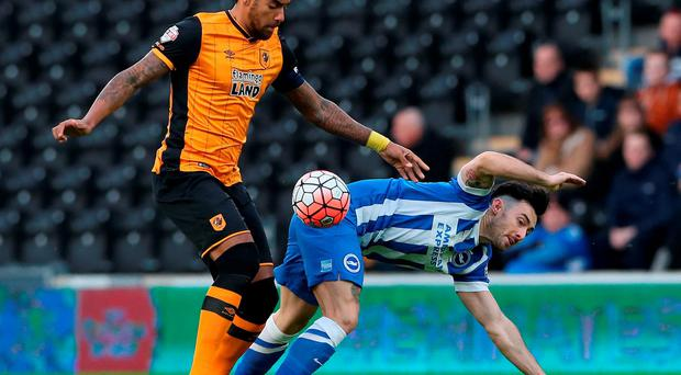 Richie Towell, right, making his Brighton debut against Hull on Saturday. Photo: Nigel Roddis/Getty Images