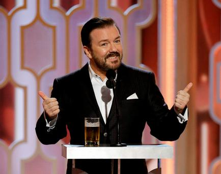 In this image released by NBC, host Ricky Gervais appears at the 73rd Annual Golden Globe Awards at the Beverly Hilton Hotel in Beverly Hills, Calif., on Sunday, Jan. 10, 2016 -- (Paul Drinkwater/NBC via AP)