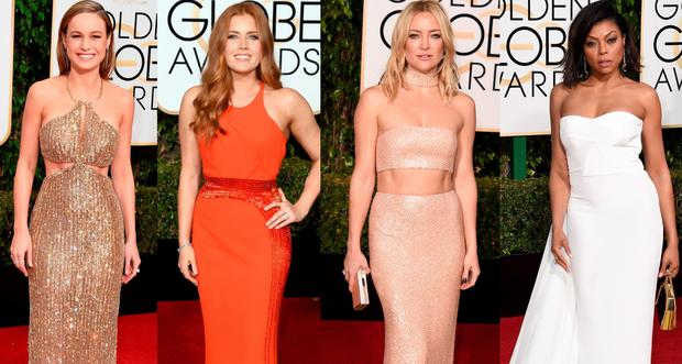 (L to R) Brie Larson, Amy Adams, Kate Hudson and Taraji P Henson at the Golden Globes 2016