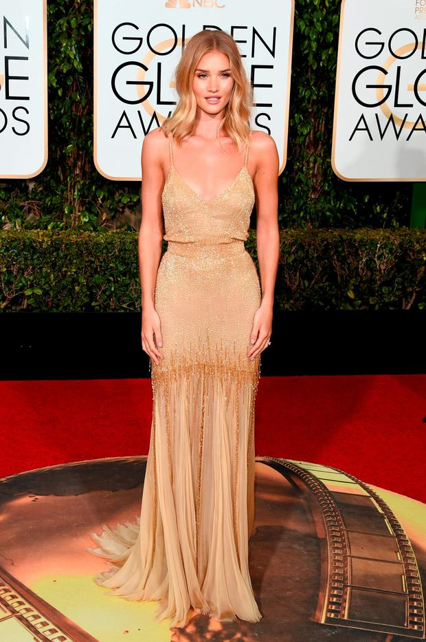 Actress Rosie Huntington-Whiteley attends the 73rd Annual Golden Globe Awards held at the Beverly Hilton Hotel on January 10, 2016 in Beverly Hills, California. (Photo by Jason Merritt/Getty Images)