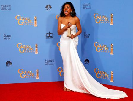 Taraji P. Henson poses with the award for Best Performance by an Actress In A Television Series - Drama for her role in
