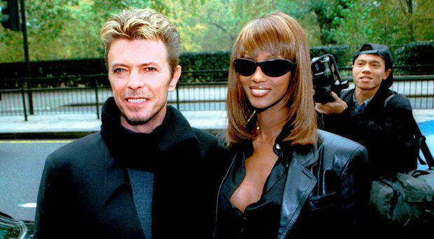 Rock star David Bowie and wife Iman arrive at the