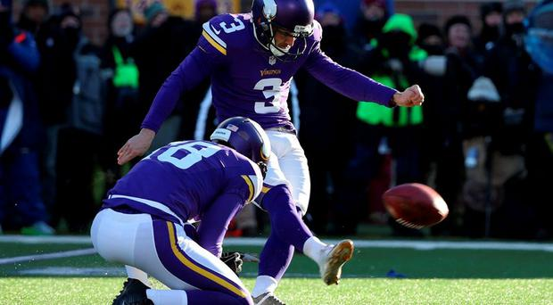 Minnesota Vikings kicker Blair Walsh (3) misses a field goal against the Seattle Seahawks in the fourth quarter of a NFC Wild Card playoff football game at TCF Bank Stadium. Mandatory Credit: Brace Hemmelgarn-USA TODAY Sports