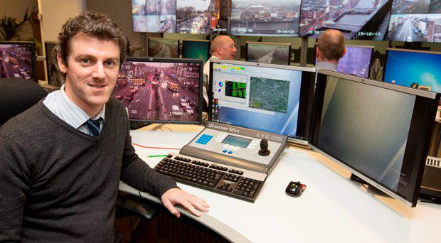Pictured at Dublin City Council's Traffic Control HQ at Wood Quay yesterday was Andrew Harris, Supervisor.