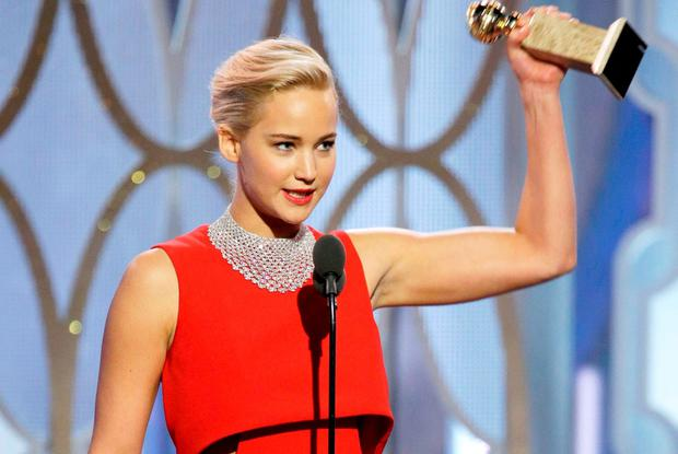Jennifer Lawrence accepts the award for Best Actress - Motion Picture, Comedy for