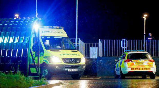 Emergency services at the scene of the accident in Finaghy