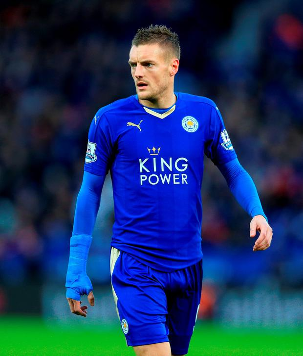 Jamie Vardy is tied as the league's joint top-scorer on 15 goals with Everton's Romelu Lukaku: P A Wire